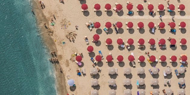 Aerial Photograph of seaside resorts at the adriatic coastline in Italy, between Ravenna and