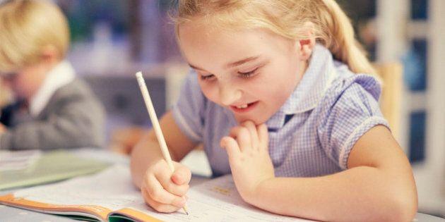 Schoolgirl doing