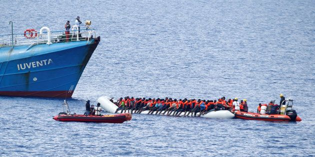 Migrants on a dinghy are rescued by German NGO Jugend Rettet