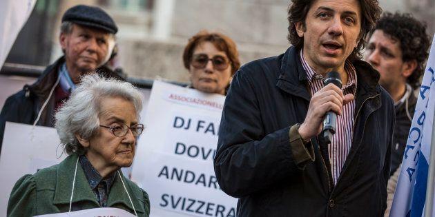 13/03/2017 Roma. Presidio organizzato dai Radicali Italiani e dall'associazione Luca Coscioni per la...