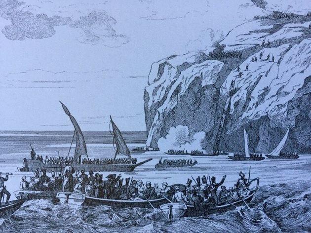 L'assalto del 1808 delle truppe francesi nella zona di Orrico (acquaforte, fine Ottocento, riprodotta...