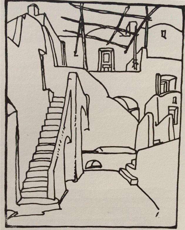 Cortile e scala di una casa di Anacapri (anni Venti, riprodotta nel