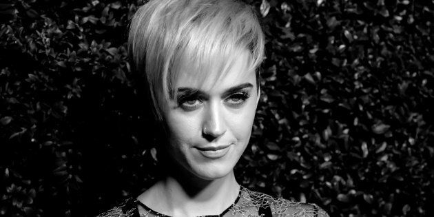 SANTA MONICA, CA - APRIL 06: (EDITORS NOTE: This image was converted to black and white.) Singer Katy...
