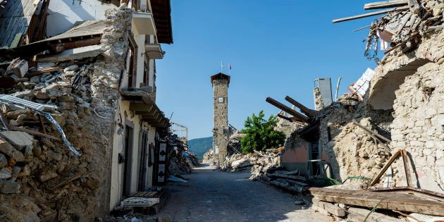 The images inside the red area of Amatrice, a village completely destroyed by the earthquake of 24 August...