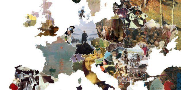 Una mappa dell'Europa ridisegnata con le opere d'arte più importanti per ogni