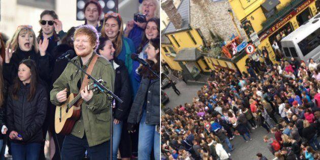 Ed Sheeran stava registrando un video in un pub irlandese. I fan invadono il
