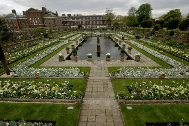 An overview shows The White Garden, a new memorial garden which marks 20 years since the death of Britain's...