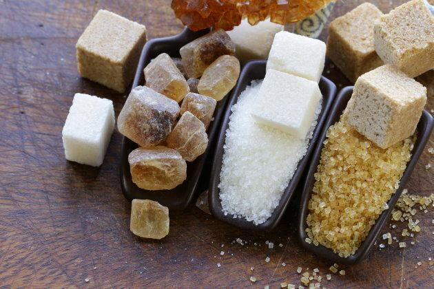 different types of sugar - brown, white and refined