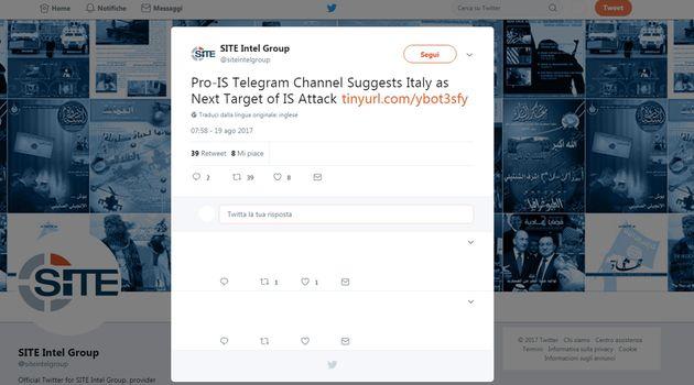 Un canale della piattaforma Telegram legato all'Isis indica l'Italia come prossimo obiettivo. Lo riferisce...