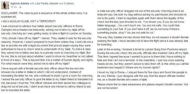 Rifiuta di togliersi il velo per i controlli a Ciampino e denuncia: