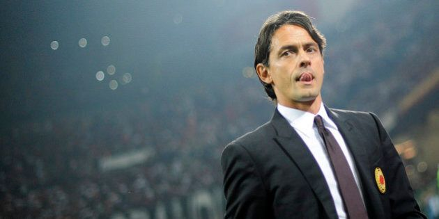 AC Milan's coach Filippo Inzaghi looks on before the start of their Italian Serie A soccer match against...