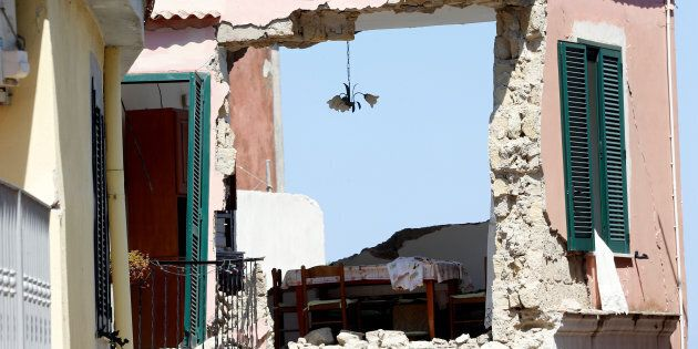 A damaged house is seen after an earthquake hit the island of Ischia, off the coast of Naples, Italy...