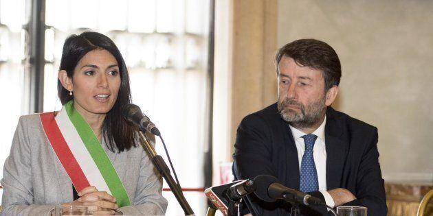 La sindaca di Roma, Virginia Raggi, con il ministro dei Beni Culturali Dario Franceschini e Pina Ragionieri,...