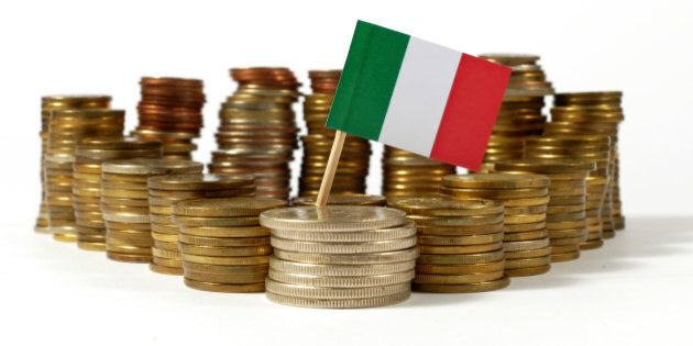 Italy flag waving with stack of money