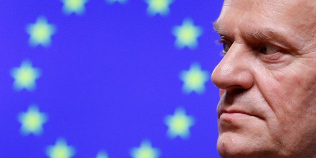 European Council President Donald Tusk looks at Armenia's President Serzh Sargsyan after a meeting in...