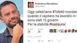 Il consigliere di Renzi scomoda Totti per il Sì al referendum. E innesca la polemica: