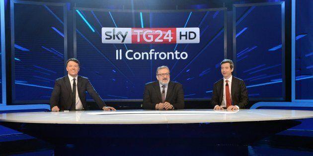 I tre candidati alla segreteria del Pd, Matteo Renzi, Michele Emiliano ed Andrea Orlando durante il confronto...