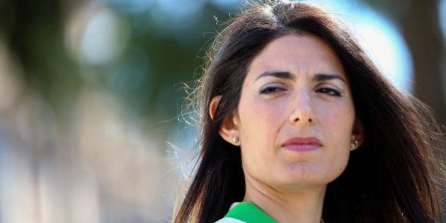 Rome's Mayor Virginia Raggi attends a news conference at Rome's famed Spanish Steps after restoration...