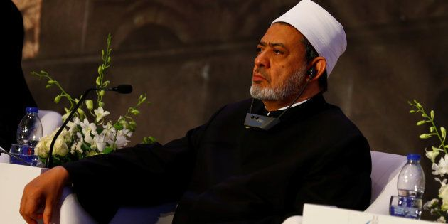 Grand Imam of Egypt's al-Azhar Institution, Ahmed al-Tayeb attends a conference ahead of Pope Francis'...