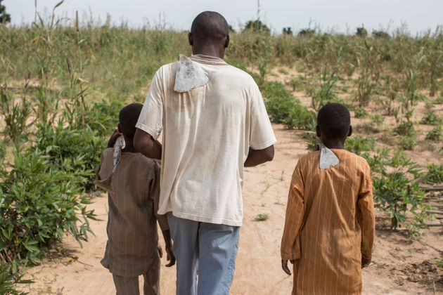 Hassan*, 35, a father of six, walks with his sons through a field he rents on the outskirts of Maiduguri,...