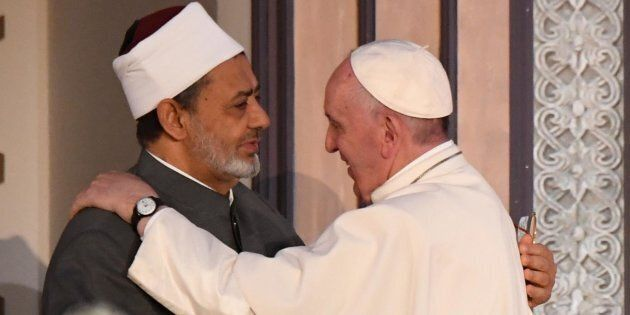 Pope Francis with Sheikh Ahmad Muhammad al-Tayyib, Egyptian Imam of al-Azhar Mosque, during their meeting...