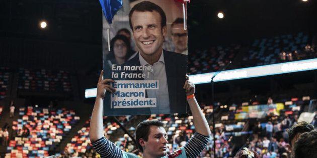 Parigi, Emmanuel Macron in campagna elettorale per le elezioni presidenziali francesi 2017 alla Bercy