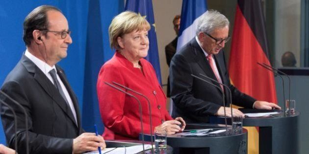 Al vertice tra Angela Merkel, François Hollande e Juncker si parla di Brexit e crescita. Matteo Renzi...