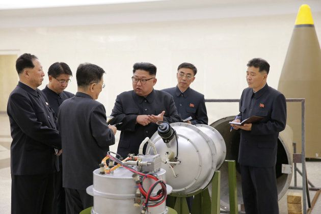 North Korean leader Kim Jong Un provides guidance on a nuclear weapons program in this undated photo...