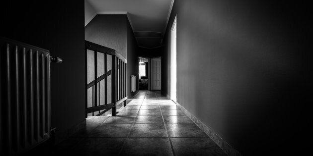 Long Empty corridor in a modern