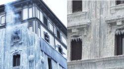 La facciata del palazzo coperta dal ghiaccio fa impazzire i milanesi (ma c'è il