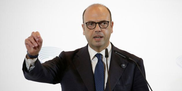 Italy's Foreign Minister Angelino Alfano talks during a news conference at the end of a G7 for foreign...