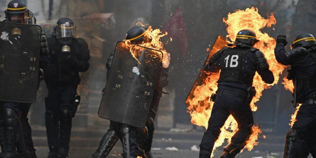 PARIS, FRANCE - MAY 01: Demonstrators confront police on the annual May Day worker's march on May 1,...