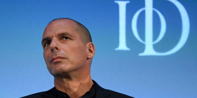 Former Greek Finance Minister Yanis Varoufakis answers questions during a panel debate at the Institute...