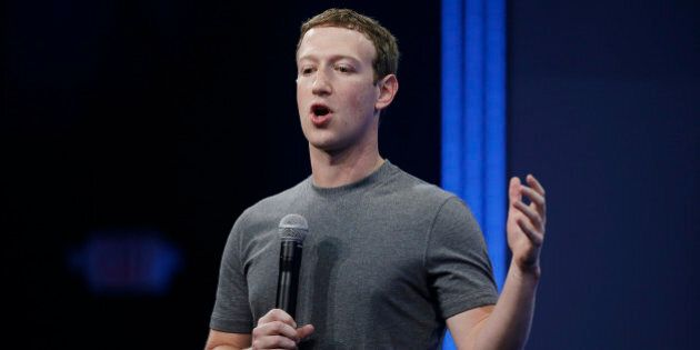 CEO Mark Zuckerberg gestures while talking about the Messenger app during the Facebook F8 Developer Conference...