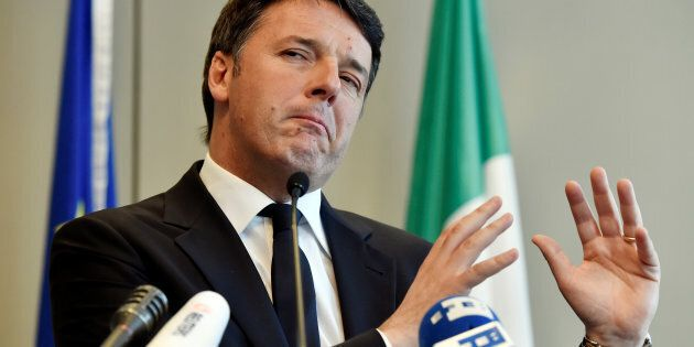 Italy's Former Prime Minister Matteo Renzi speaks during a news conference in Brussels, Belgium April...