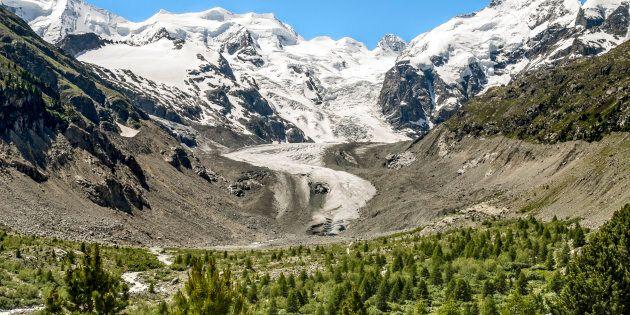 SWITZERLAND - 2011/06/27: View at the Morteratsch Glacier, Engadine, Switzerland | Aussicht auf den Morteratsch...