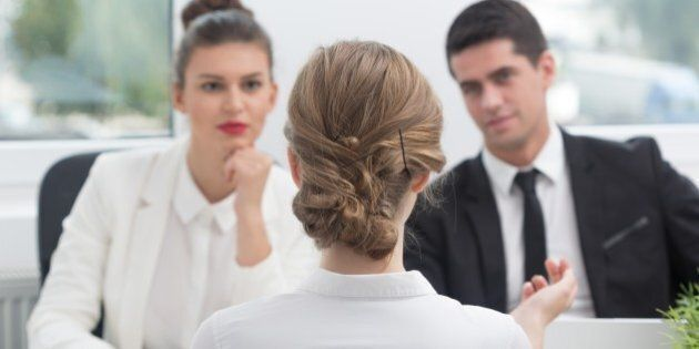 Young woman and recruitment procedure in