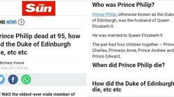 Il Sun fa morire il principe Filippo (per