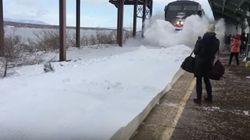 L'arrivo del treno nella stazione coperta di neve è spettacolare (non per chi lo stava