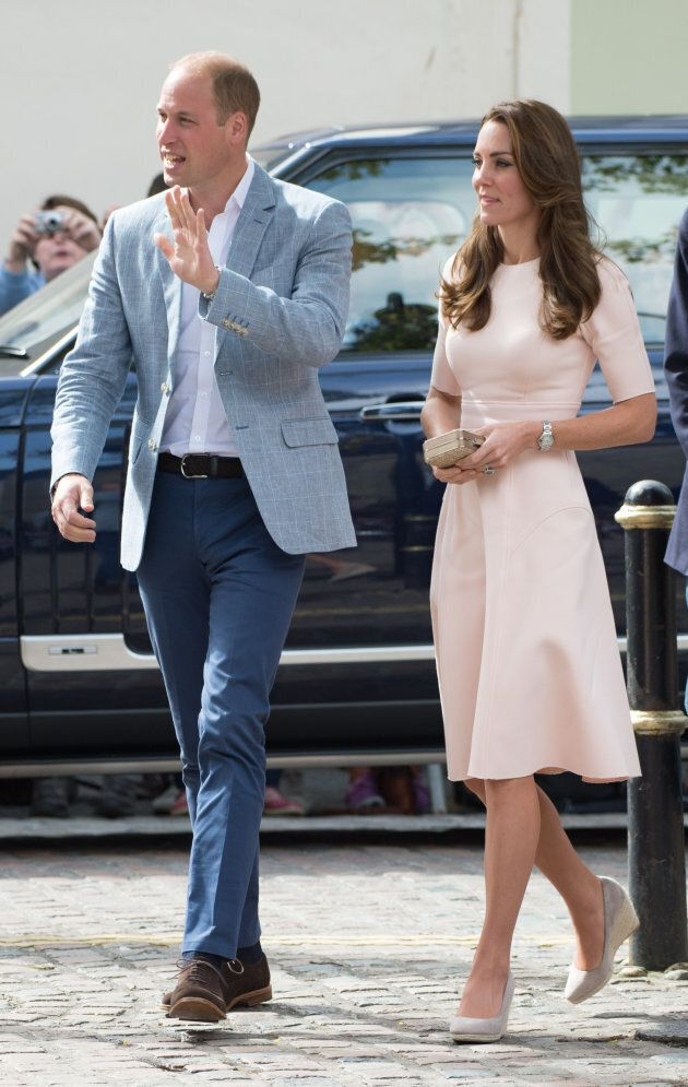 Prince William, Duke of Cambridge and Catherine, Duchess of Cambridge, wearing a pale pink dress by New...