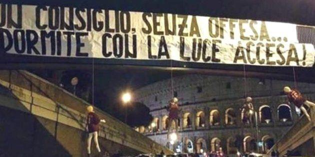 Minacce ai giocatori della Roma questa notte a pochi passi dal Colosseo, sulla passerella pedonale, dove...
