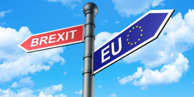 Brexit Direction Sign with sky as a