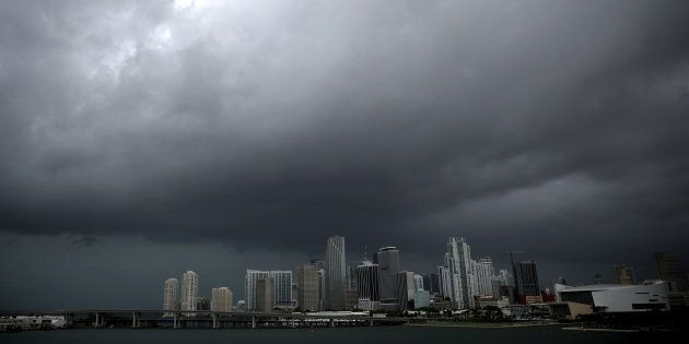 Dark clouds are seen over Miami's skyline prior to the arrival of Hurricane Irma to south Florida, U.S....