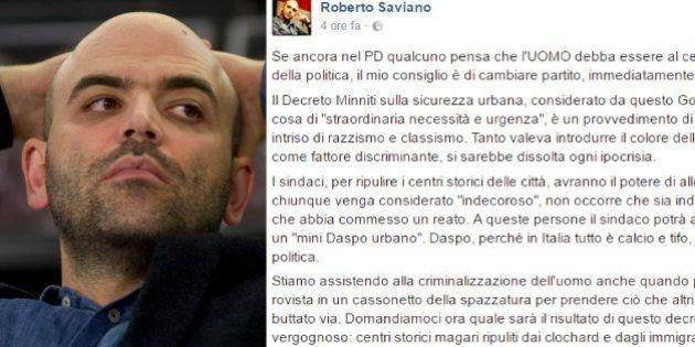 Roberto Saviano durissimo sul decreto Minniti: