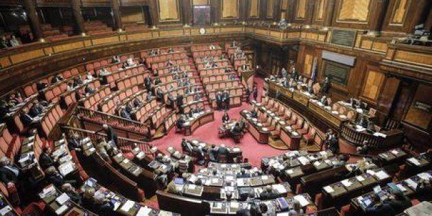 L'aula del Senato durante l'esame del decreto legge su ''abrogazione voucher'', Roma 19 aprile 2017....