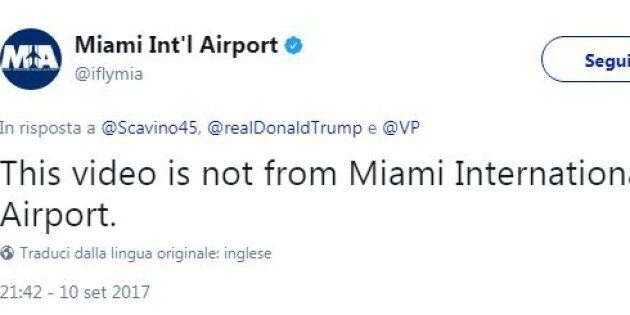 Perfino l'aeroporto di Miami ha smentito la fake news sull'uragano Irma pubblicata dalla Casa
