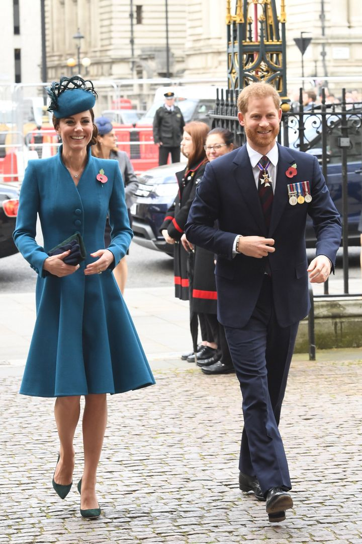 The Duchess of Cambridge and Prince Harry attend a service of commemoration and thanksgiving to mark Anzac Day in Westminster
