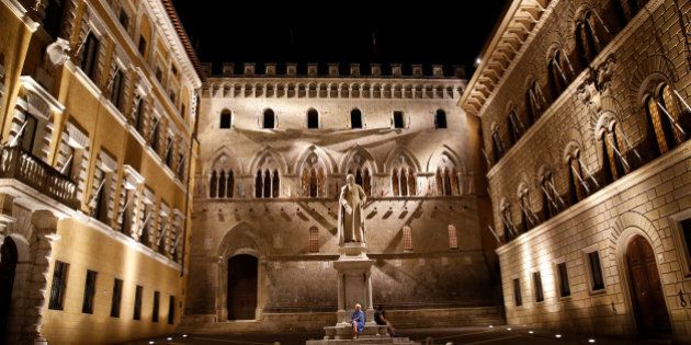The entrance of Monte dei Paschi di Siena bank's headquarter is seen in downtown Siena July 1, 2016....