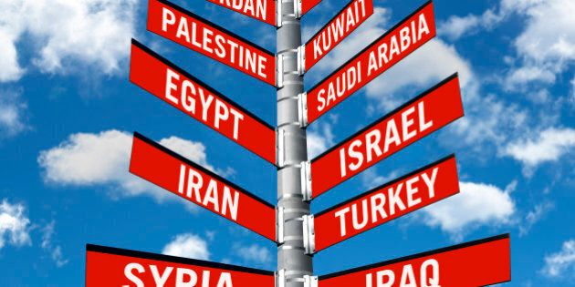directional traffic sign symbolizing politic decisions about Middle eastern