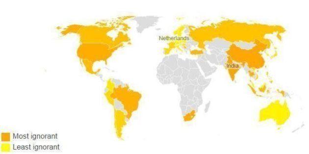 La mappa dei paesi più ignoranti del mondo: i fatti non hanno il potere di modificare le